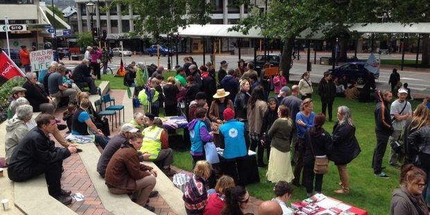 Up to 250 people have declared Dunedin's Octagon a TPP-free zone. Photo / Linda Robertson