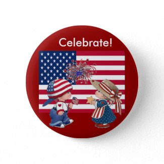 Celebrate American Flag button