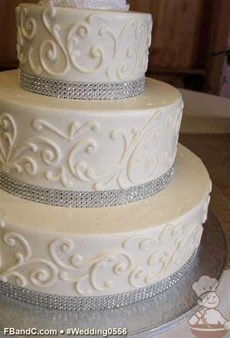 "Design W 0556   Butter Cream Wedding Cake   14"" 10"" 6"