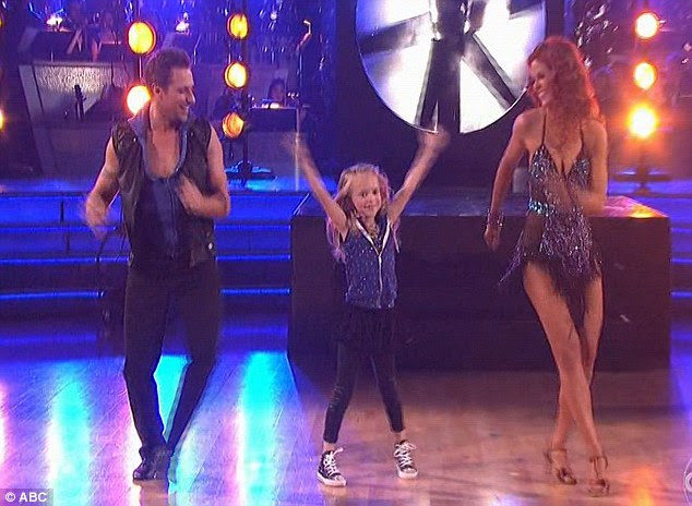 Stealing the show: Drew Lachey's daughter Isabella joined in with his final dance, much to the audience's delight