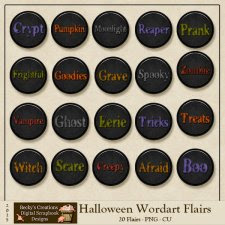 Halloween Wordart Flairs by Beckys Creations