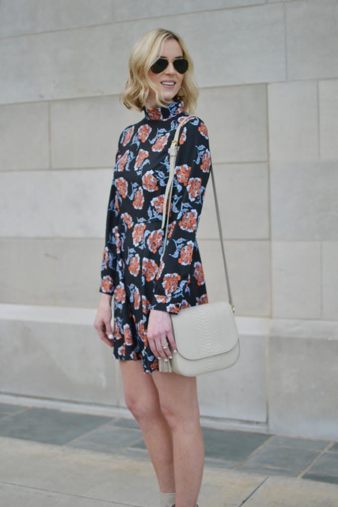 floral mini, cream boots 1
