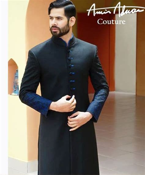 Amir Adnan Black Sherwani Design   Cloths   Sherwani
