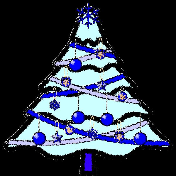 手書き風でかわいいクールな青いクリスマスツリーの無料イラスト