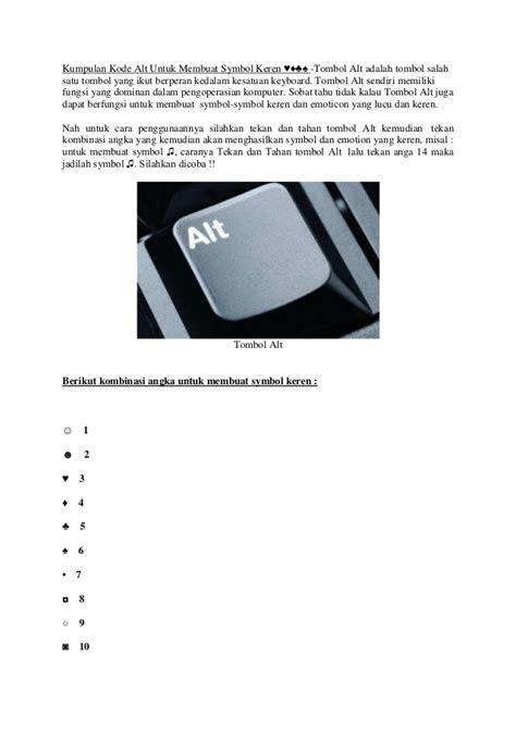 kumpulan kode alt  membuat symbol keren