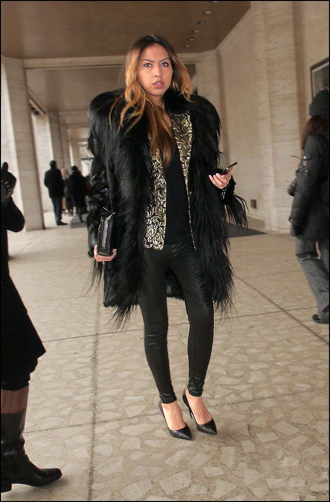 FW 2014-2 -12 black feathery fur silver black brocade jacket skinny black leggings ol
