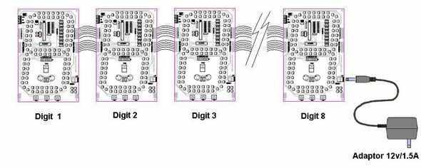 7-segment LED-CC-C-PIC16F876-adapter-12V chữ số-8