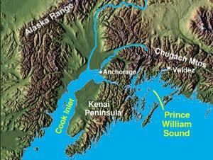Prince William Sound, on the south coast of Al...