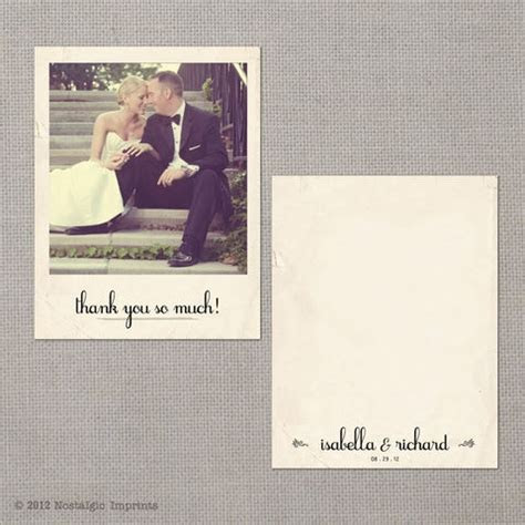 Vintage Wedding Thank You Card Polaroid