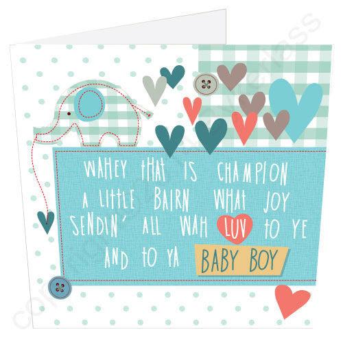New Baby Boy Geordie Poetry Card Wot Ma Like