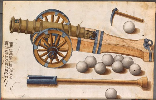 wood-mounted cannon, cannonballs and ramrod