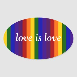 Rainbow Stripes Oval Sticker