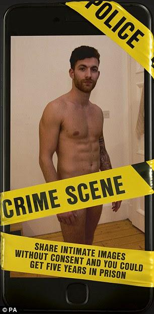 The models' intimate areas are covered by police tape reading 'crime scene'