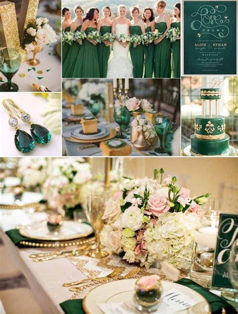emerlad green and gold wedding ideas   themed wedding in