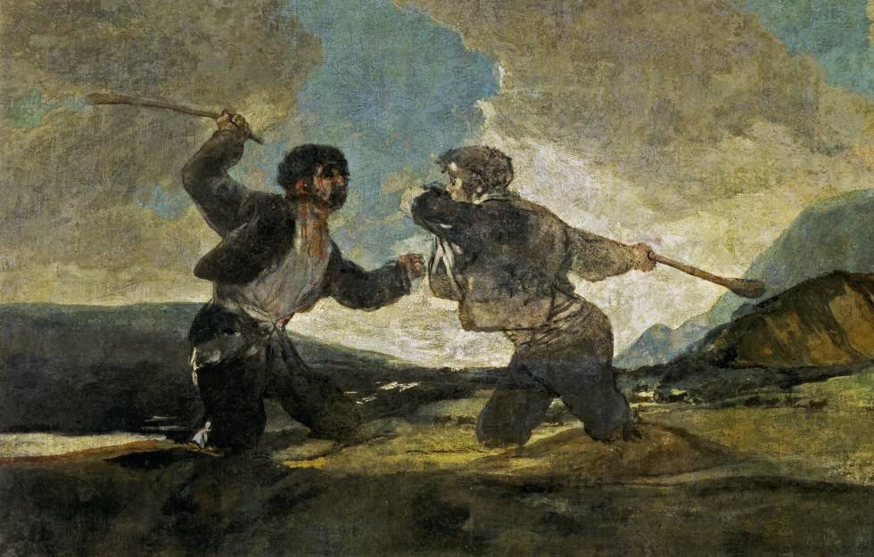 'El duelo a garrotazos' de Goya se ha convertido en símbolo de violencia cainita entre humanos.