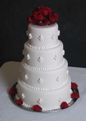 Fleur Delish :  wedding new orleans Fleur De Lis Cake W Roses.jpg