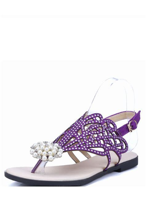 Purple Faux Jewel Cutout Thong Flat Sandals @ Women's Sexy