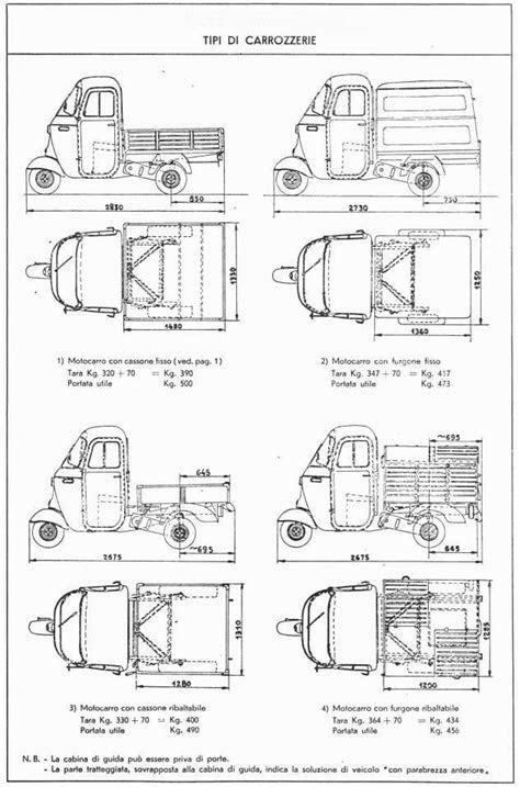 ApeVintage.com - Tecnica - ingombri Ape C-D - blueprint