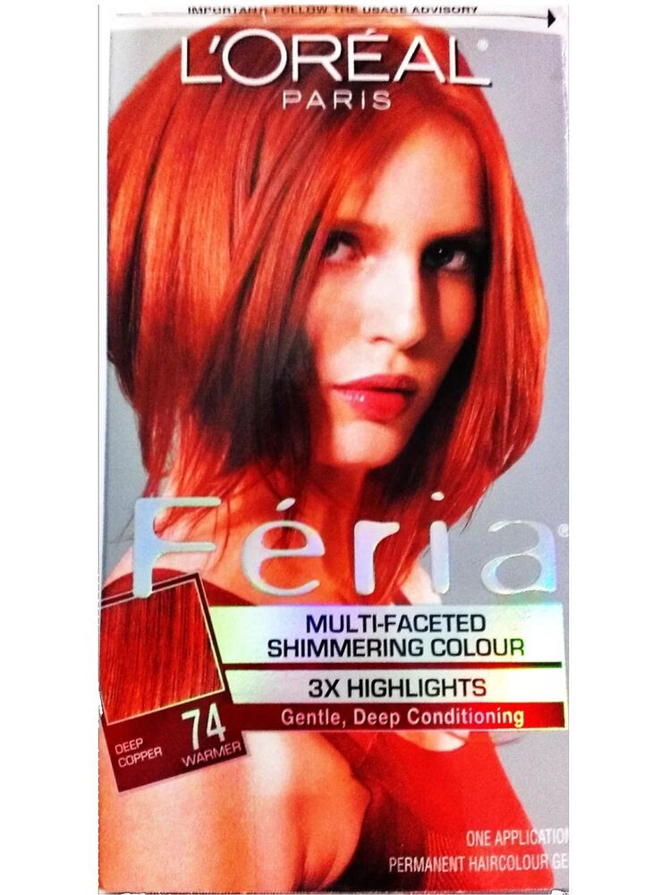 L\u002639;Oreal Feria Shimmering Highlights \u0026 Permanent Hair Dye Deep Copper Color 74  eBay