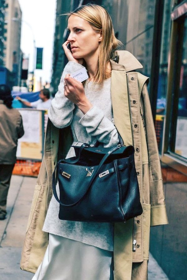 Le Fashion Blog How To Wear Fall Layers Layered Look Vanessa Traina Street Style Trench Coat Sweater Dress Silk Cami Dress Skirt Hermes Bag Via Tommy Ton