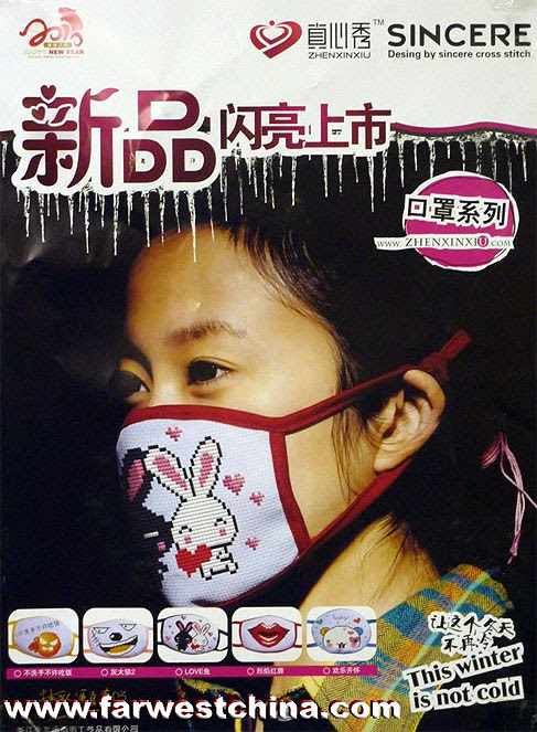 гриппозная маска с вышивкой