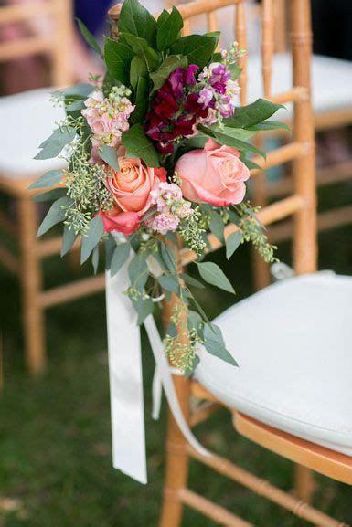 wedding flower pew end decor for outdoor barn wedding in