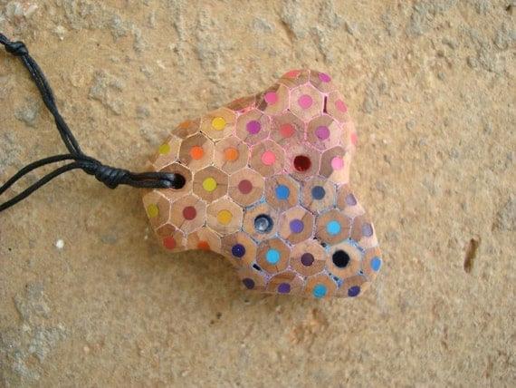 Colored pencils spring necklace with swarovski crystals.