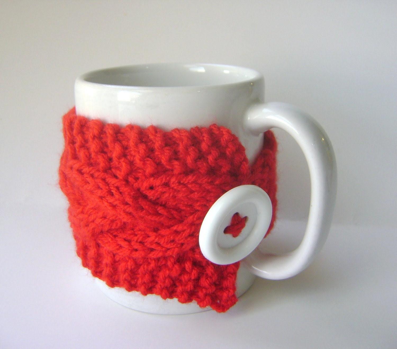 Red Cup Cozy, Mug Cozy, Tea Cozy, Bright Red Coffee Cozy