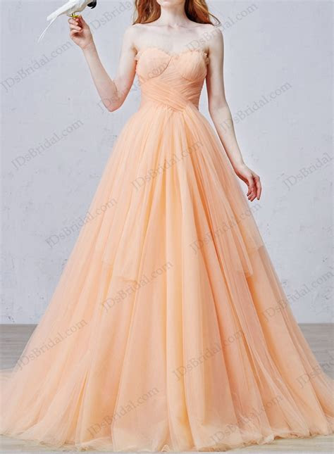 IS057 Uniqe peach color soft tulle ball gown wedding dress