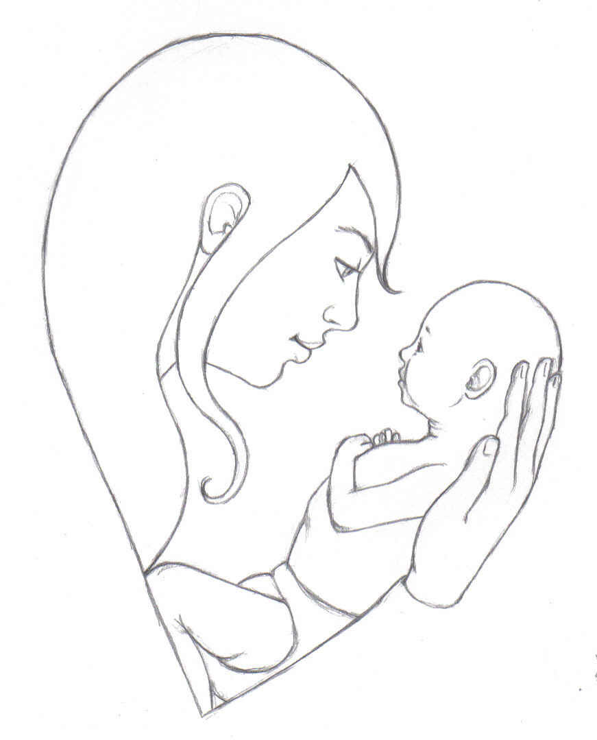 Mother And Baby Pencil Drawing At Getdrawingscom Free For