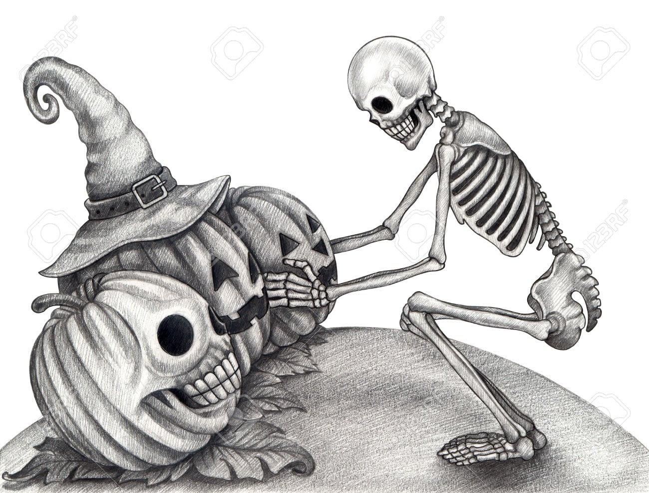 32730552_halloween_skull_pumpkin_tattoo_hand_drawing_on_paper__stock_photo_3
