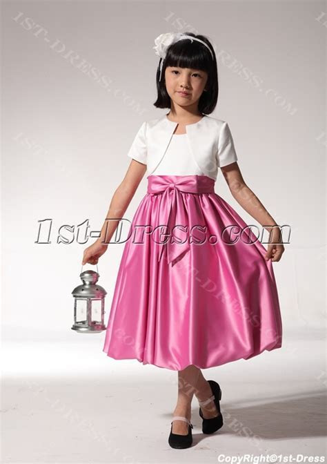 Tea Length Hot Pink Flower Girl Dress with Jacket