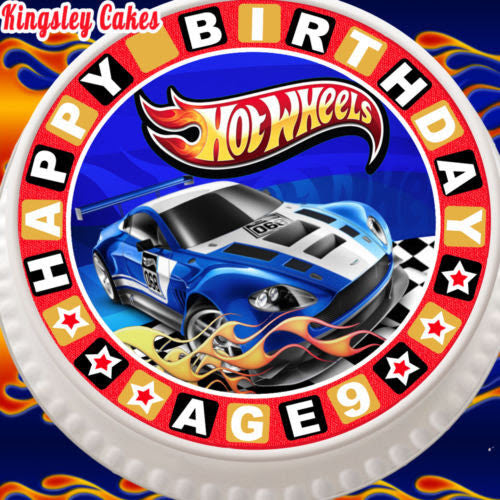 Large Cake Topper 75 Inch Edible Icing Hot Wheels 9th Birthday Age