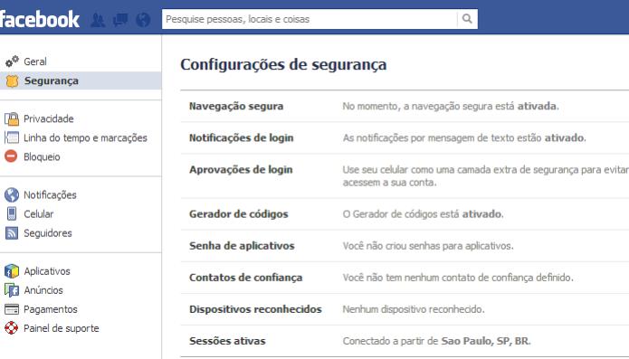 Ative o máximo de configurações de segurança que puder no Facebook (Foto: Reprodução/Paulo Alves) (Foto: Ative o máximo de configurações de segurança que puder no Facebook (Foto: Reprodução/Paulo Alves))