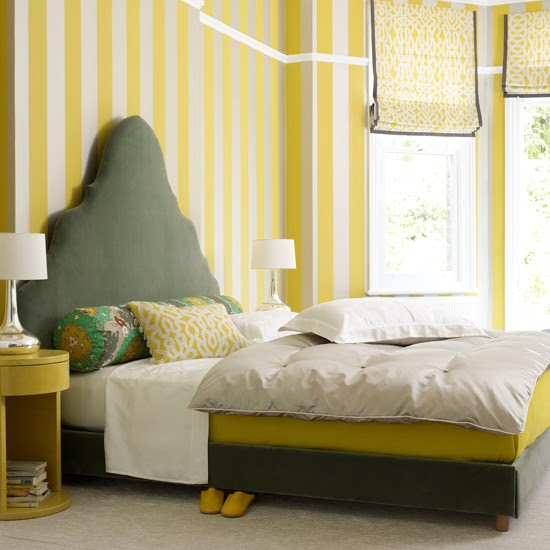 Bedroom with striped yellow wallpaper | Grey and yellow ...
