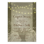String of Lights Rustic Background 5x7 Paper Invitation Card