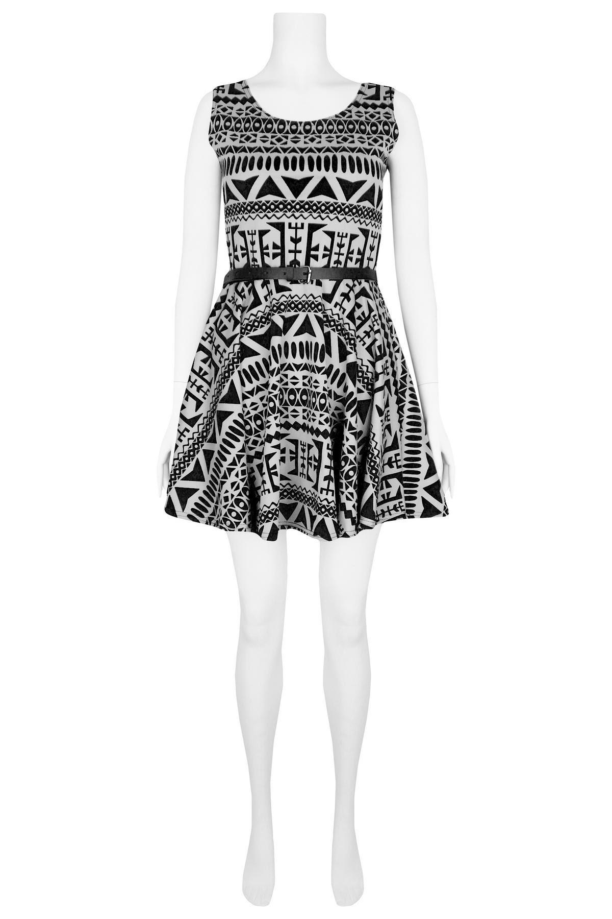 View Item Black & White Aztec Dress