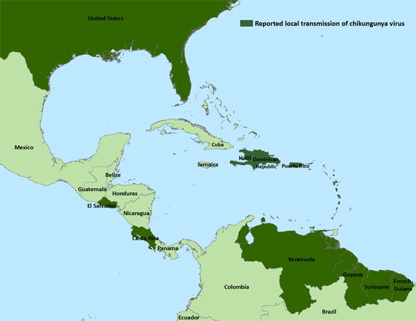 Image: Countries in the Americas where chikungunya cases have been reported, listed in below data table