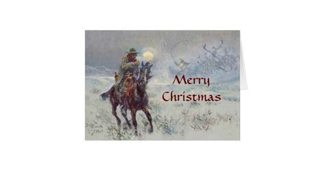 Old West Cowboy see's Santa Christmas Card   Zazzle.com