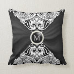Monogram Black Satin & Paisley Abstract Pillow
