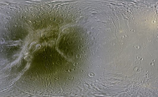 This global map of Dione, a moon of Saturn, shows dark red in the trailing hemisphere, which is due to radiation and charged particles from Saturn's intense magnetic environment. Credit: NASA/JPL/Space Science Institute