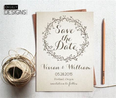 Rustic Save The Date Invitation Printable, Save Te Date