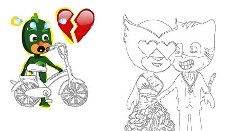 draw  coloring pages pj masks catboy love