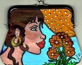 Colorful Handpainted Original Art Coin Purse
