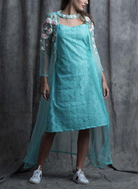 Barely Pinck by Sneh   Turquoise Blue Choked Rosy Dress