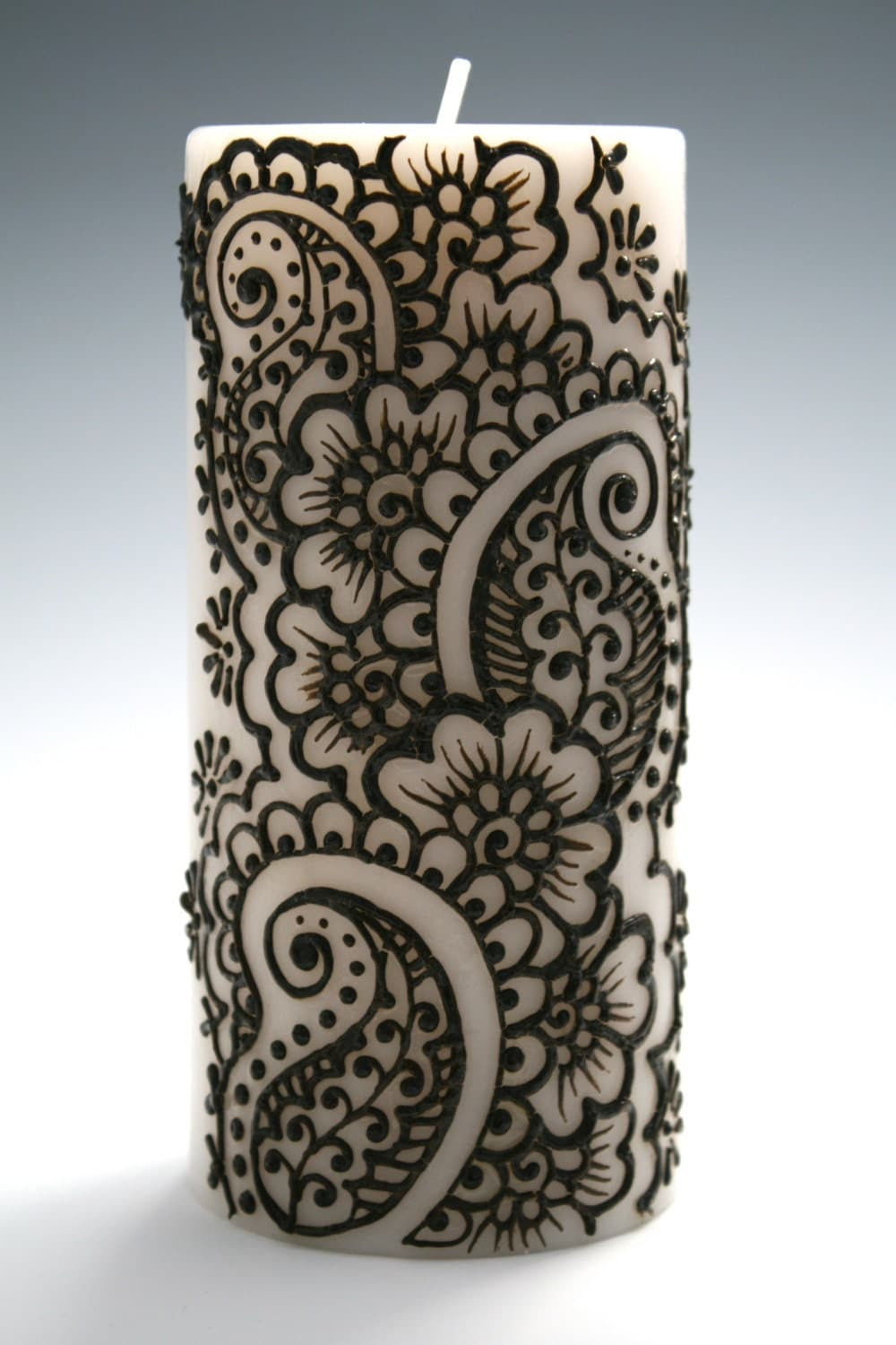 Henna Candle with Intricate Indian Style Design by ...