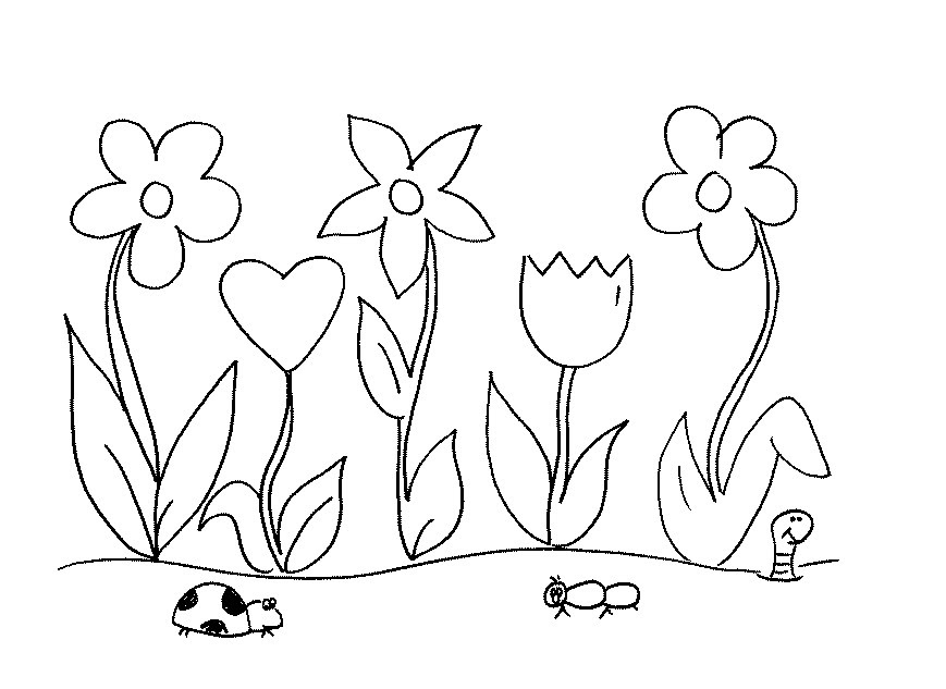 Kindergarten Flower Garden Coloring Pages For Kids - Drawing With Crayons