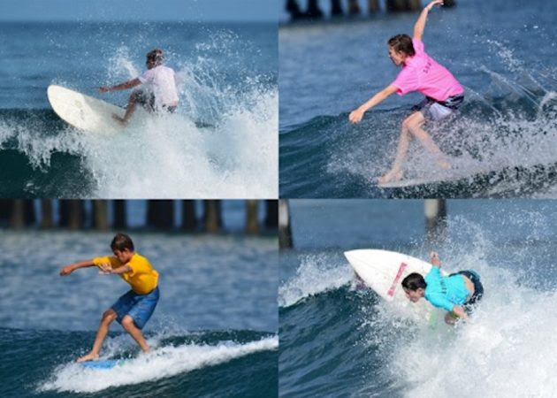 Charlie (upper right), Diego (top right), Henno (lower left), and Niko (lower right) surfing in last year's event.
