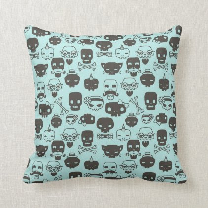 Personality Skull Pattern Pillow - Mint