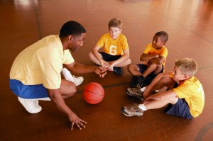 Basketball coach and players